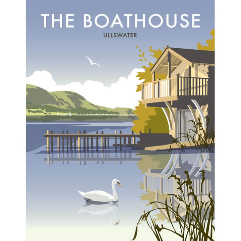 "THOMPSON218: The Boathouse, Ullswater. 24"" x 32"" Matte Mounted Print"