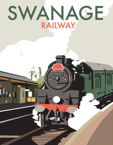 THOMPSON245: Swanage Railway. Greeting Card 6x6
