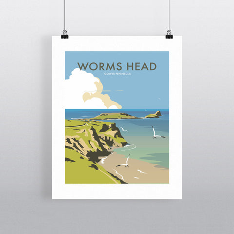 "THOMPSON277: Worms Head, Gower Peninsula 24"" x 32"" Matte Mounted Print"