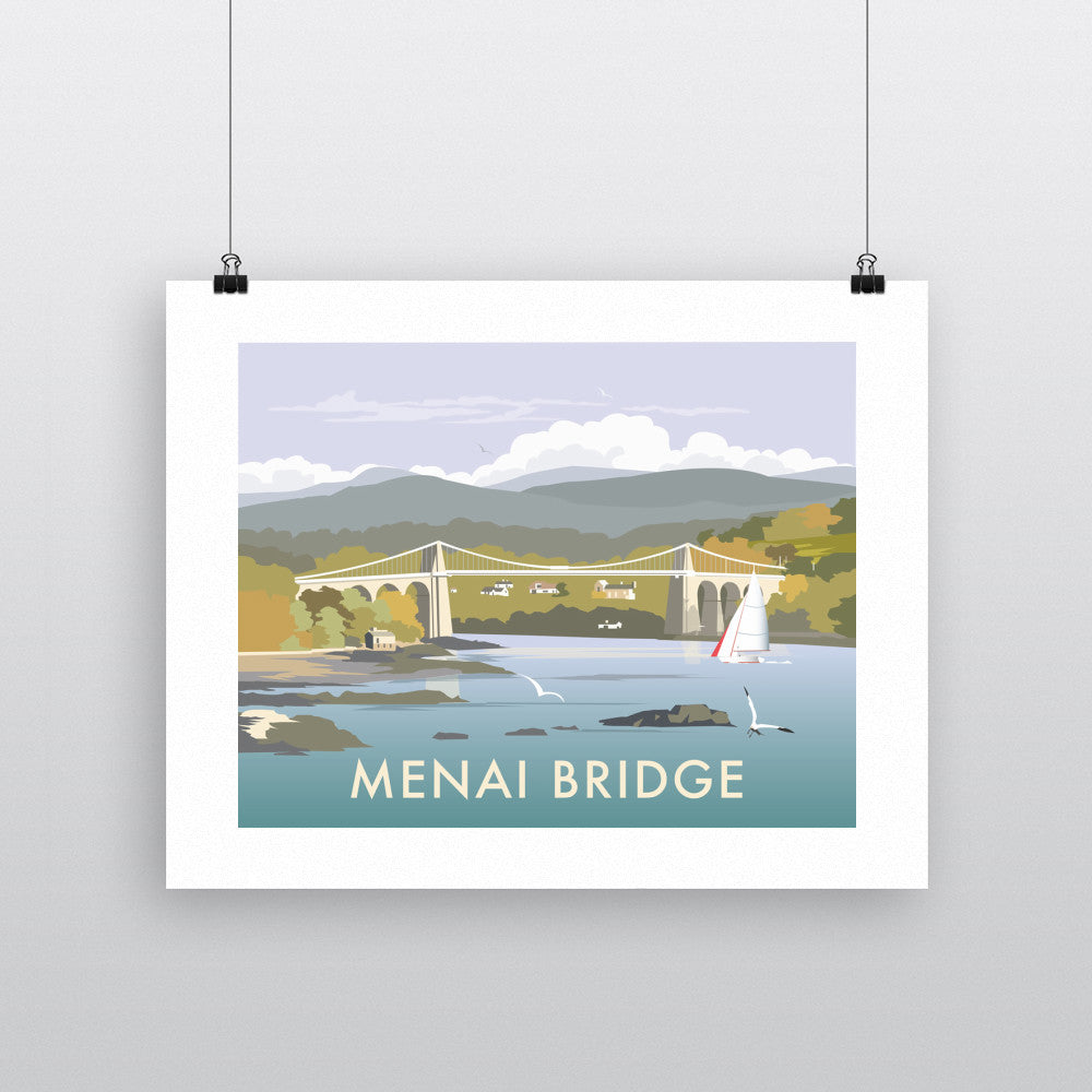 "THOMPSON295: Menai Bridge 24"" x 32"" Matte Mounted Print"