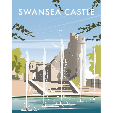 "THOMPSON308: Swansea Castle, South Wales 24"" x 32"" Matte Mounted Print"