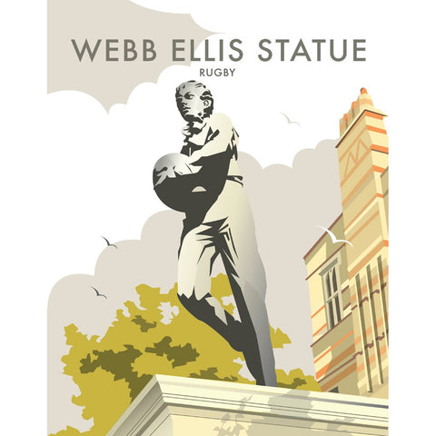 "THOMPSON324: Webb Ellis Statue, Rugby 24"" x 32"" Matte Mounted Print"
