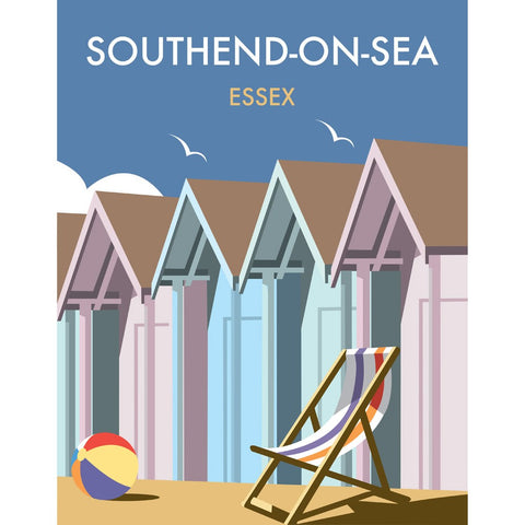 "THOMPSON334: Beach Huts, Essex 24"" x 32"" Matte Mounted Print"