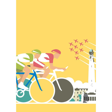 "THOMPSON343: Cycling 24"" x 32"" Matte Mounted Print"