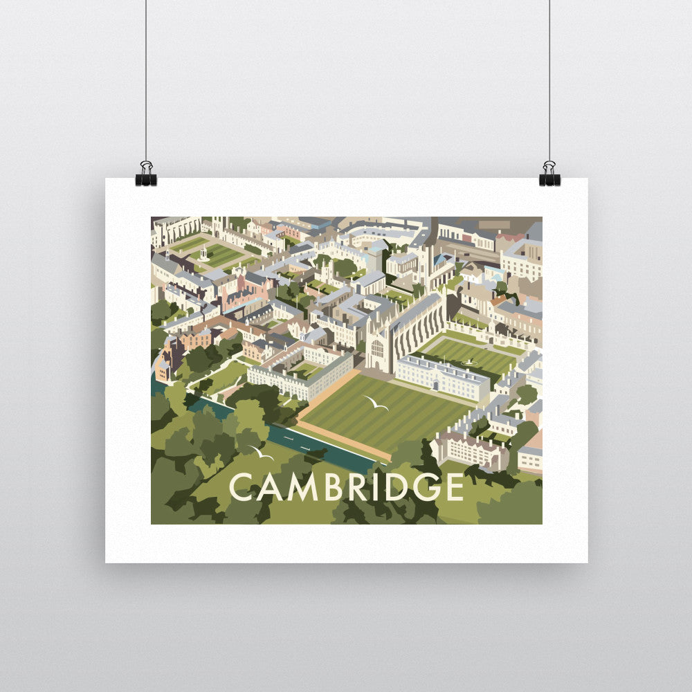 "THOMPSON351: An Aerial View of Cambridge, Cambridgeshire 24"" x 32"" Matte Mounted Print"