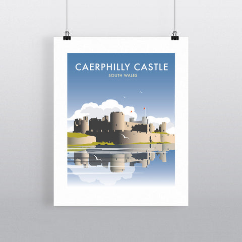 "THOMPSON366: Caerphilly Castle, South Wales 24"" x 32"" Matte Mounted Print"