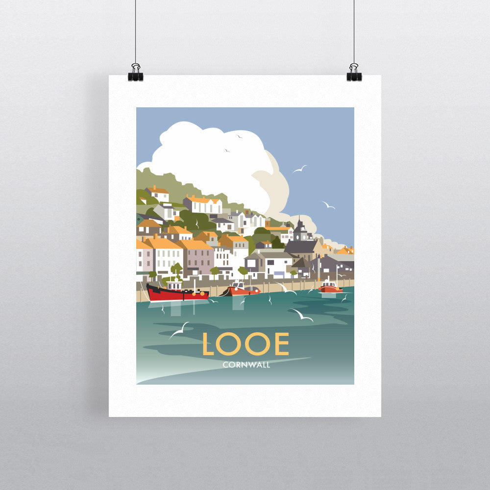 "THOMPSON436: Looe, Cornwall 24"" x 32"" Matte Mounted Print"