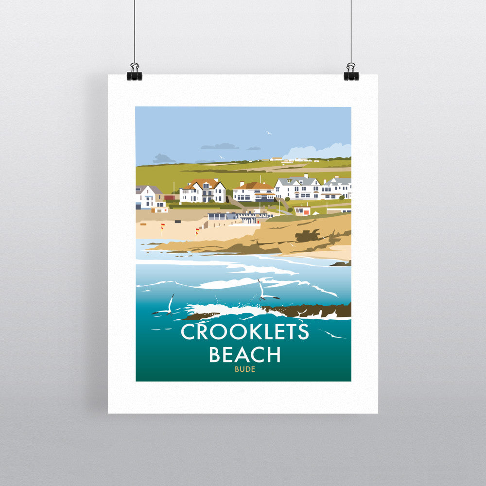 "THOMPSON447: Crooklets Beach, Cornwall 24"" x 32"" Matte Mounted Print"