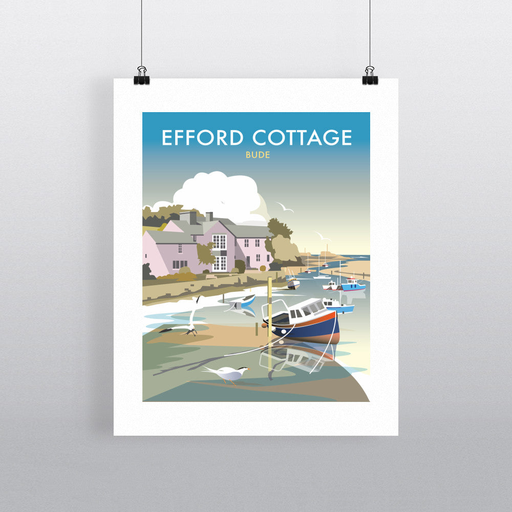 "THOMPSON449: Efford Cottage, Cornwall 24"" x 32"" Matte Mounted Print"