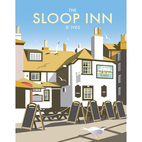 "THOMPSON456: The Sloop Inn, St Ives 24"" x 32"" Matte Mounted Print"