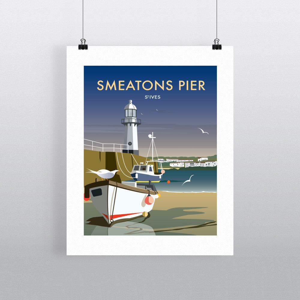 "THOMPSON457: Smeatons Pier, St Ives 24"" x 32"" Matte Mounted Print"