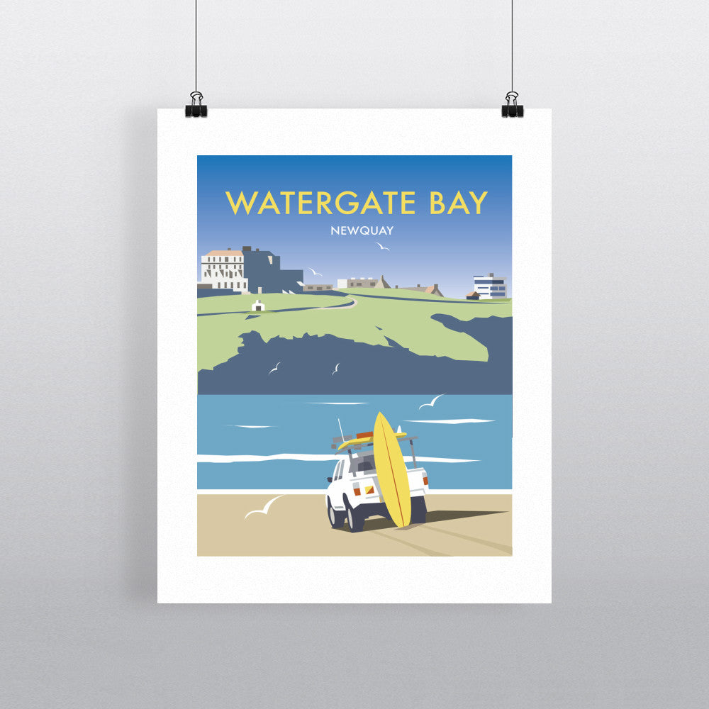 "THOMPSON463: Watergate Bay, Cornwall 24"" x 32"" Matte Mounted Print"