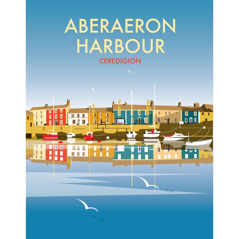"THOMPSON473: Aberaeron Harbour 24"" x 32"" Matte Mounted Print"