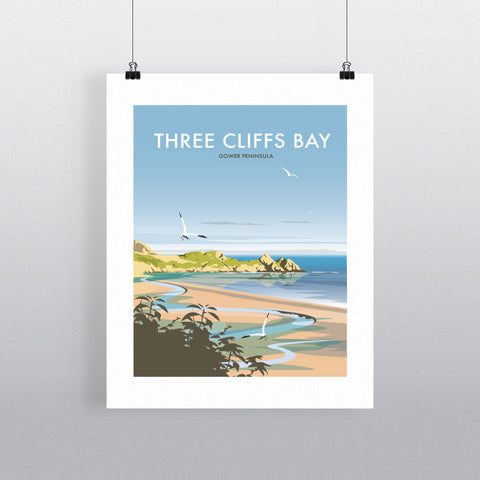 "THOMPSON474: Three Cliffs Bay, Wales 24"" x 32"" Matte Mounted Print"