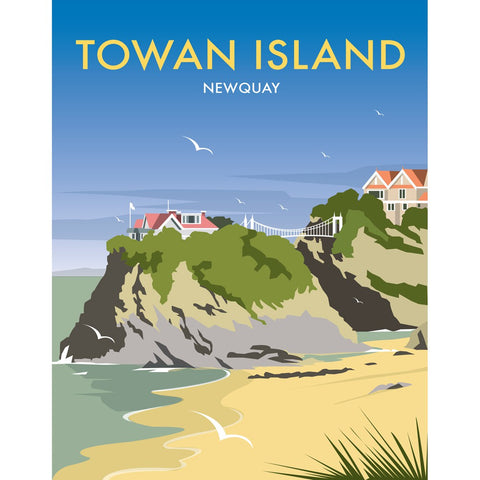 "THOMPSON479: Towan Island, Newquay 24"" x 32"" Matte Mounted Print"