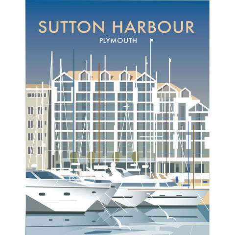 "THOMPSON486: Sutton Harbour, Plymouth 24"" x 32"" Matte Mounted Print"