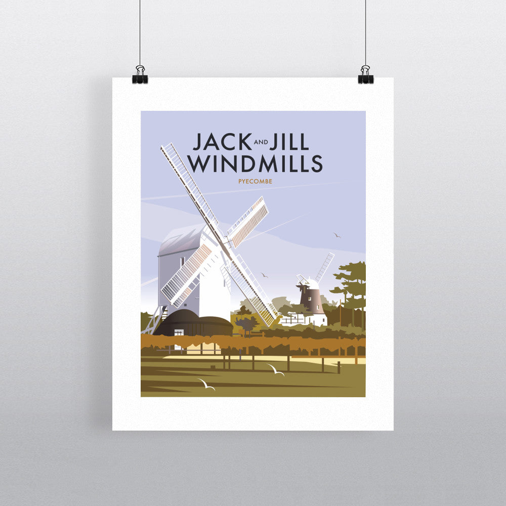 THOMPSON545: Jack and Jill Windmills Pyecombe. Greeting Card 6x6