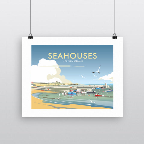 THOMPSON604: Seahouses Northumberland. Greeting Card 6x6