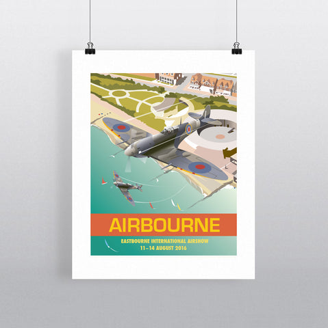 THOMPSON629: Airbourne Spitfire. Greeting Card 6x6