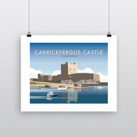 THOMPSON655: Carrickfergus Castle County Antrim. Greeting Card 6x6