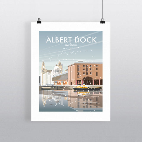 THOMPSON660: Albert Docks Winter. Greeting Card 6x6