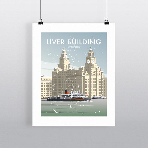 THOMPSON663: Liver Building Liverpool Winter. Greeting Card 6x6