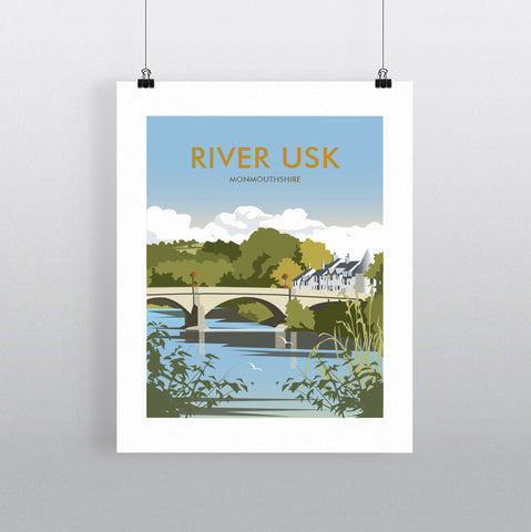 THOMPSON705: River Usk Monmouthshire. Greeting Card 6x6