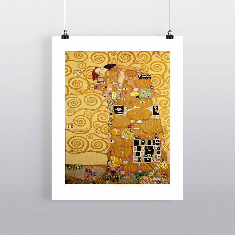 Fulfilment (Stoclet Frieze) c.1905-09 (tempera, w/c) (see 259350 for detail) by Gustav Klimt 20cm x 20cm Mini Mounted Print