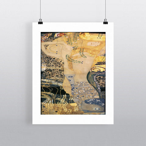Water Serpents I, 1904-07 (oil on canvas) by Gustav Klimt 20cm x 20cm Mini Mounted Print