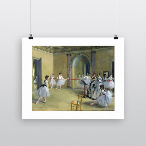 The Dance Foyer at the Opera on the rue Le Peletier, 1872 (oil on canvas) by Edgar Degas 20cm x 20cm Mini Mounted Print