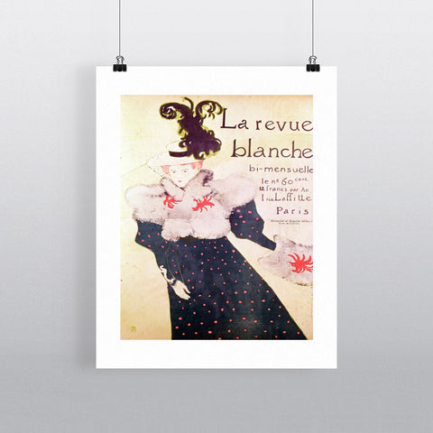 Poster advertising 'La Revue Blanche', 1895 (litho) by Henri de Toulouse-Lautrec 20cm x 20cm Mini Mounted Print