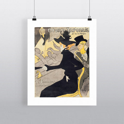 Poster advertising 'Le Divan Japonais', 1892 (litho) by Henri de Toulouse-Lautrec 20cm x 20cm Mini Mounted Print