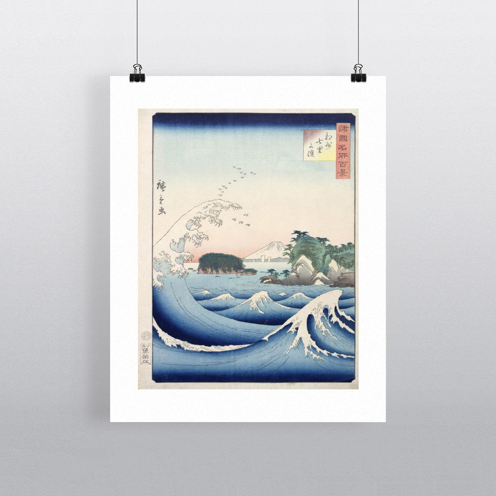The Wave, from the series '100 Views of the Provinces' (woodblock print) by Ando or Utagawa Hiroshige 20cm x 20cm Mini Mounted Print
