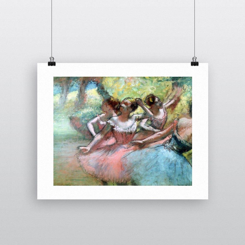Four ballerinas on the stage (pastel) by Edgar Degas 20cm x 20cm Mini Mounted Print