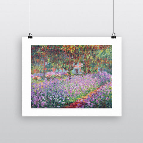 The Artist's Garden at Giverny, 1900 (oil on canvas) by Claude Monet 20cm x 20cm Mini Mounted Print