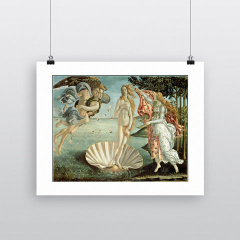 The Birth of Venus, c.1485 (tempera on canvas) by Sandro Botticelli 20cm x 20cm Mini Mounted Print