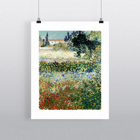 Garden in Bloom, Arles, 1888 (oil on canvas) by Vincent van Gogh 20cm x 20cm Mini Mounted Print