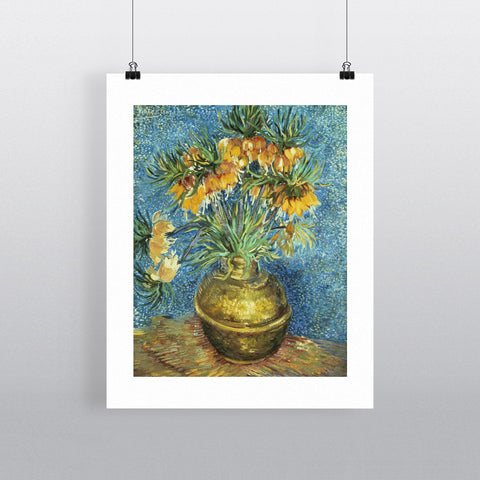 Crown Imperial Fritillaries in a Copper Vase, 1886 (oil on canvas) by Vincent van Gogh 20cm x 20cm Mini Mounted Print