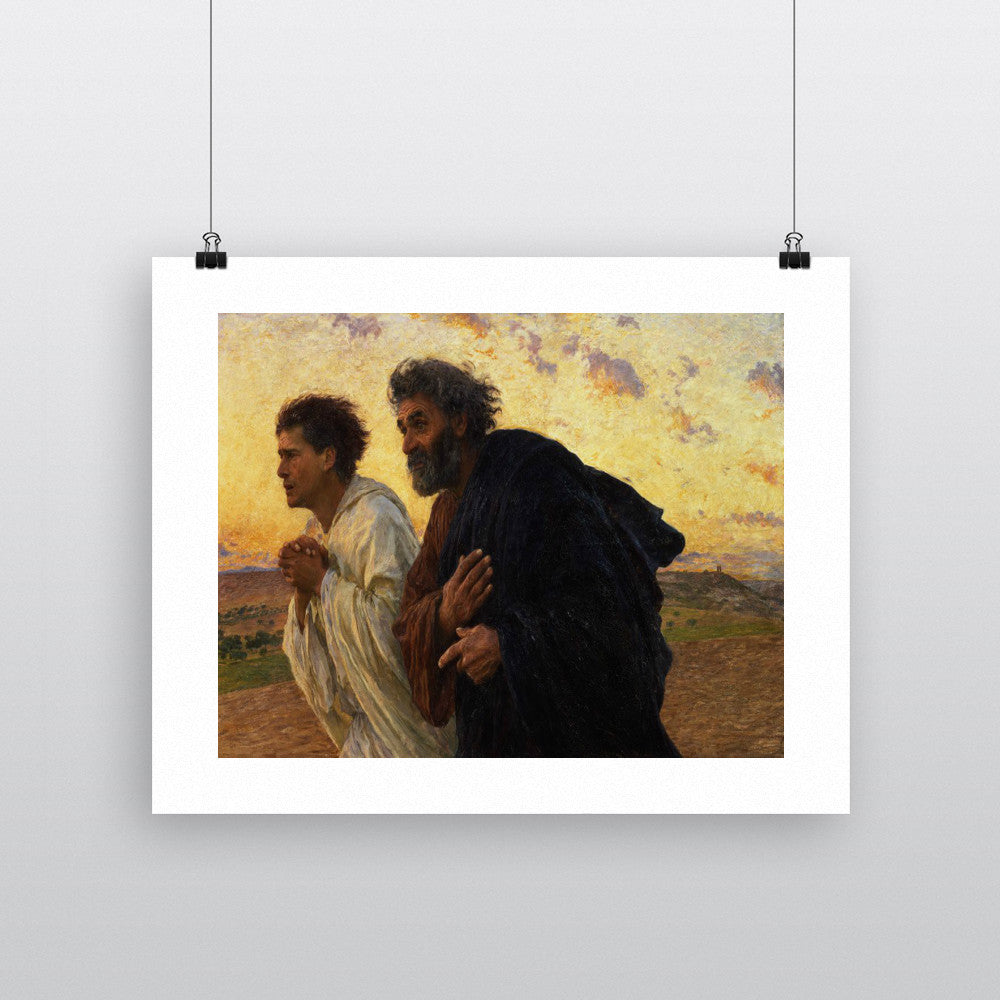 The Disciples Peter and John Running to the Sepulchre on the Morning of the Resurrection, c.1898 (oil on canvas) by Eugene Burnand 20cm x 20cm Mini Mounted Print