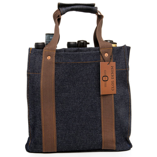 Heavyweight Raw Denim Wine Tote, Batch 1, Brown, Shipping Included*