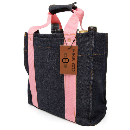 Heavyweight Raw Denim Wine Tote, Batch 1, Pink, Shipping Included*