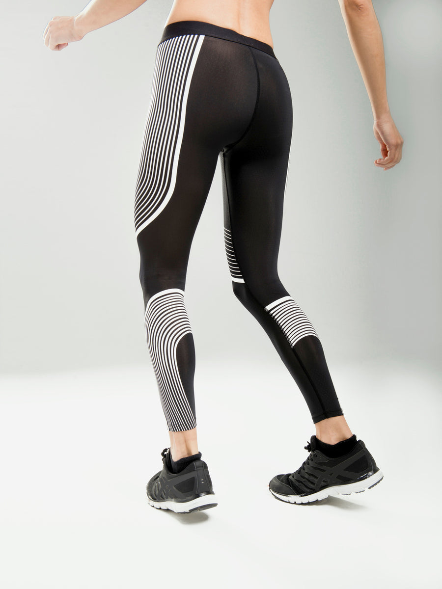 legging mallas diseño color negro deporte yoga born marca calidad bordado con rayas color blanco