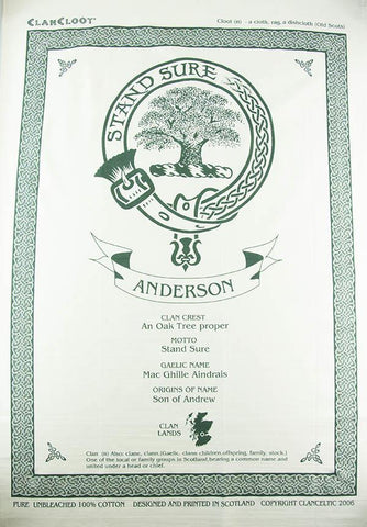 Anderson Clan Tea Towel | Scottish Shop