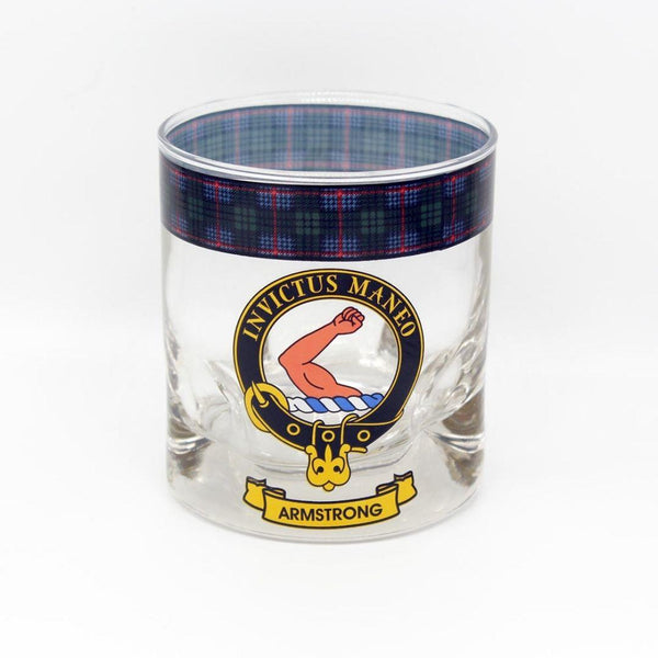 Armstrong Clan Crest Tartan Whisky Glass |Scottish Shop