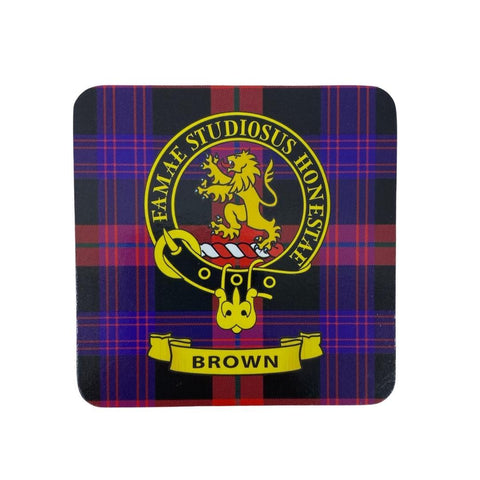 Brown Clan Crest Cork Coaster | Scottish Shop