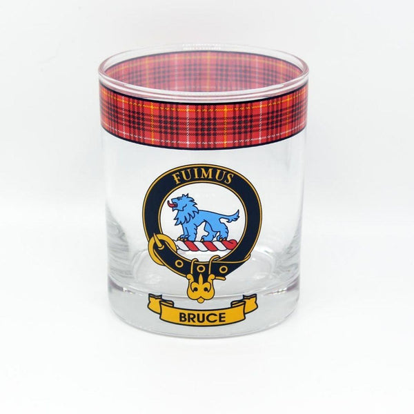 Bruce Clan Crest Tartan Whisky Glass |Scottish Shop