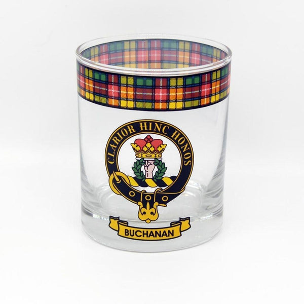 Buchanan Clan Crest Tartan Whisky Glass |Scottish Shop