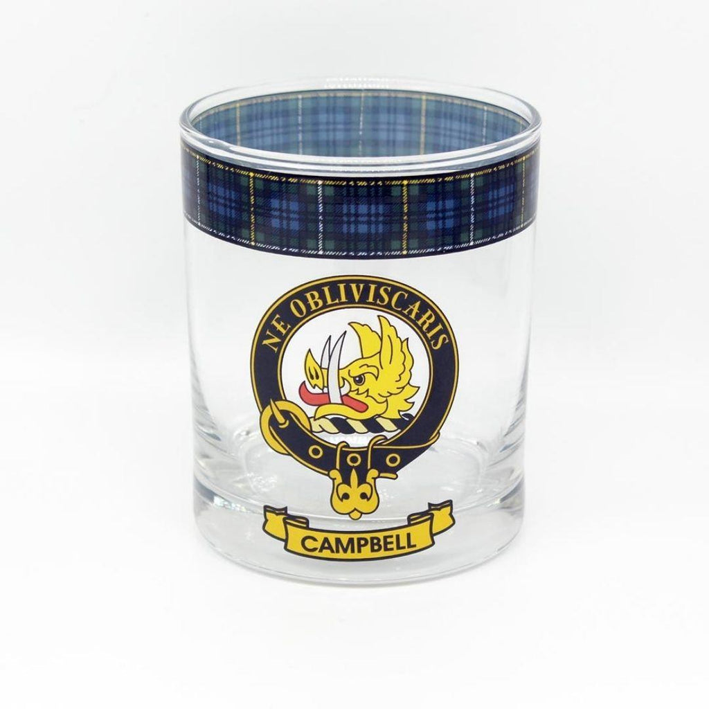 Campbell Clan Crest Tartan Whisky Glass |Scottish Shop