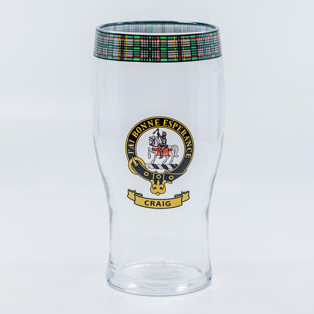 Craig Clan Crest Pint / Beer Glass | Scottish Shop