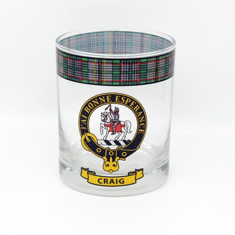 Craig Clan Crest Tartan Whisky Glass |Scottish Shop